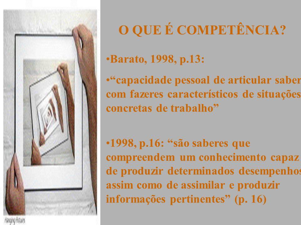 O QUE É COMPETÊNCIA Barato, 1998, p.13: