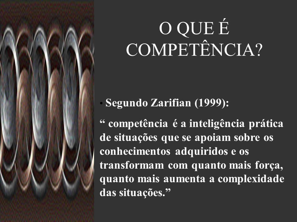 O QUE É COMPETÊNCIA Segundo Zarifian (1999):