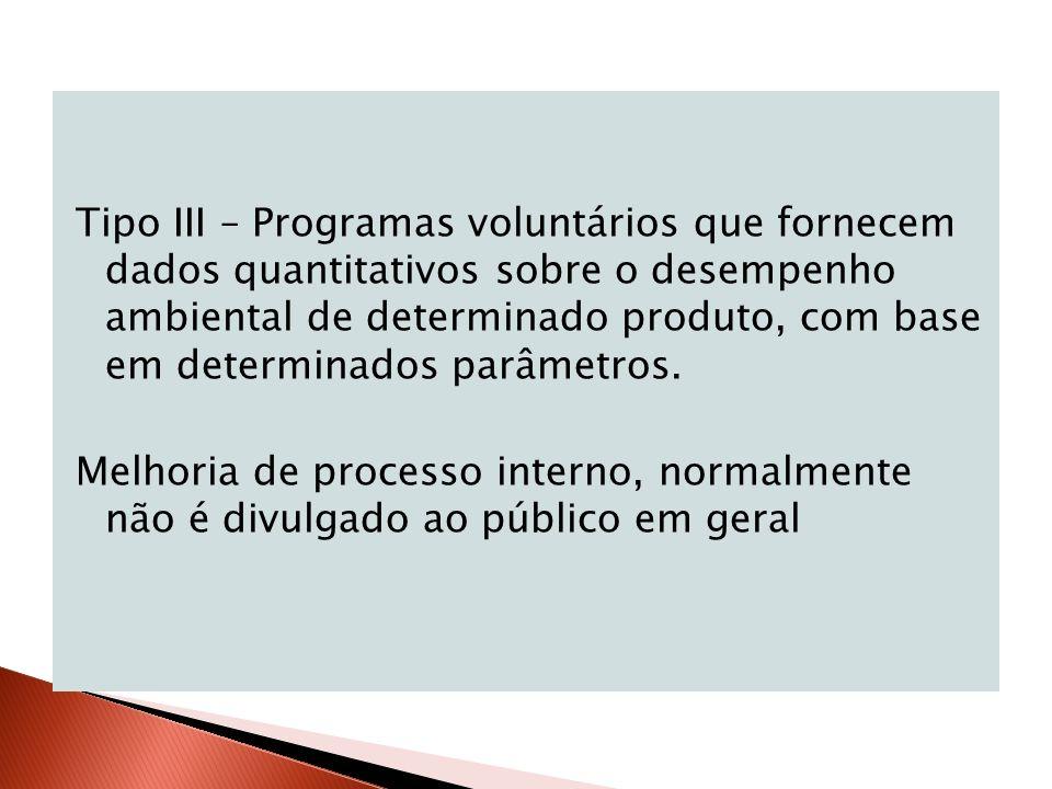 Tipo III – Programas voluntários que fornecem dados quantitativos sobre o desempenho ambiental de determinado produto, com base em determinados parâmetros.
