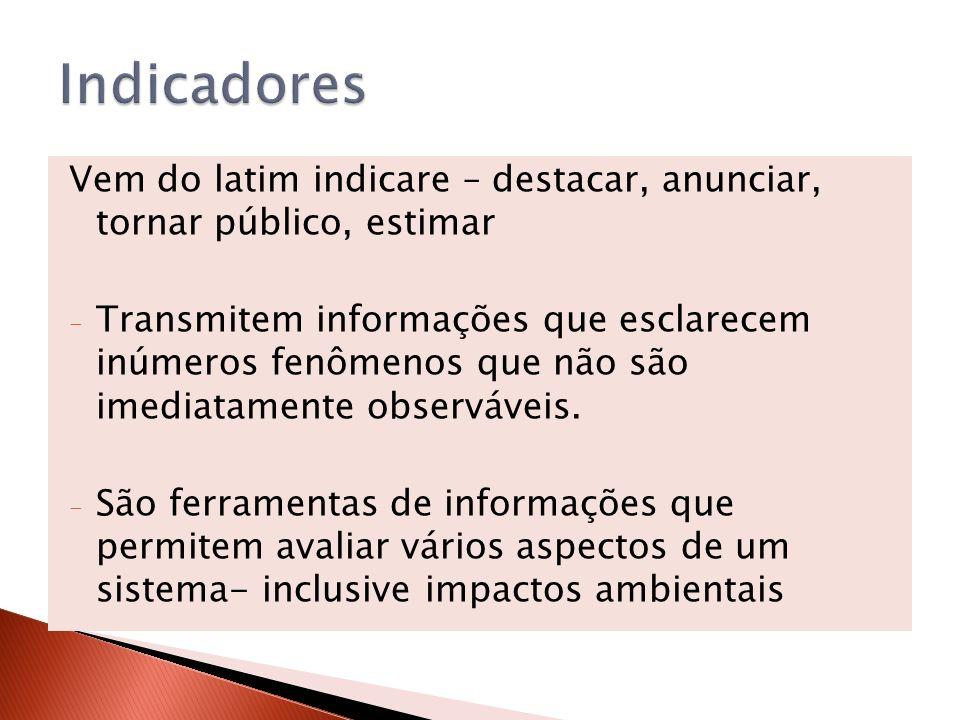Indicadores Vem do latim indicare – destacar, anunciar, tornar público, estimar.