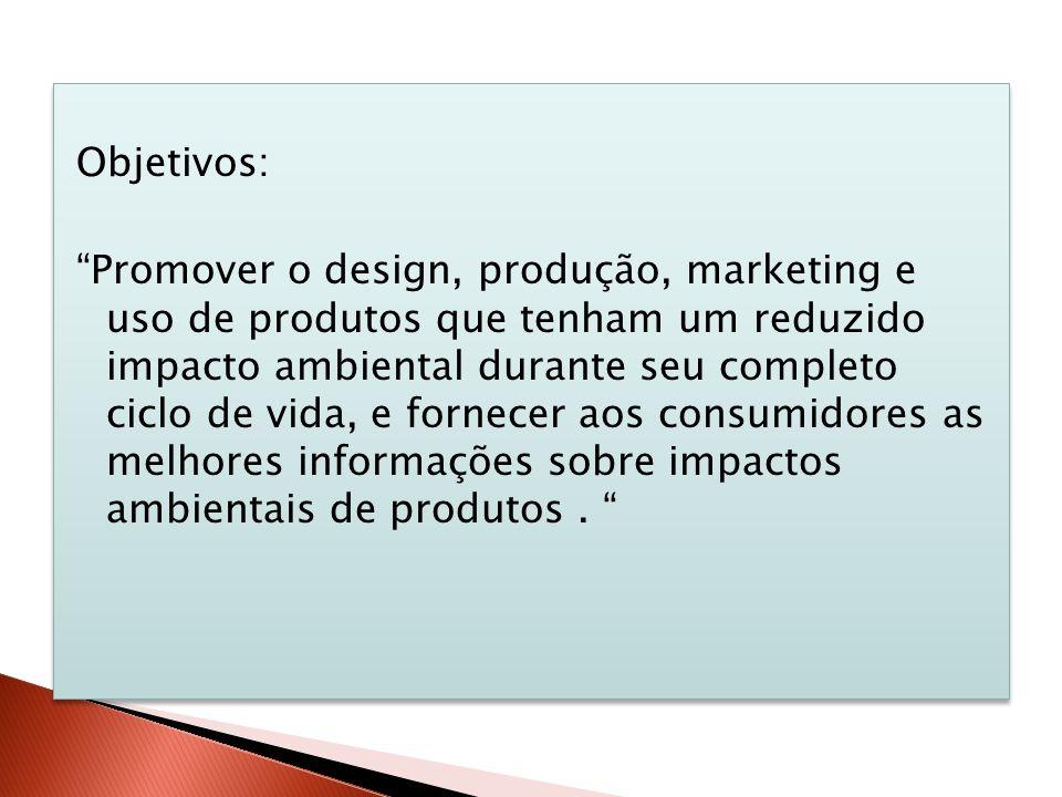 Objetivos: Promover o design, produção, marketing e uso de produtos que tenham um reduzido impacto ambiental durante seu completo ciclo de vida, e fornecer aos consumidores as melhores informações sobre impactos ambientais de produtos .