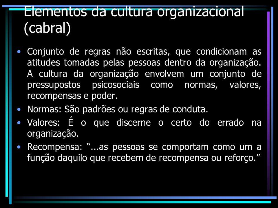 Elementos da cultura organizacional (cabral)