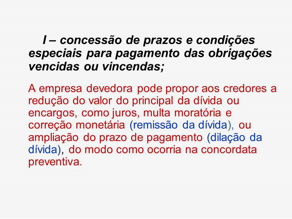 I – concessão de prazos e condições especiais para pagamento das obrigações vencidas ou vincendas;