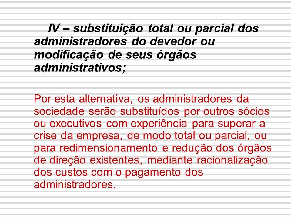 IV – substituição total ou parcial dos administradores do devedor ou modificação de seus órgãos administrativos;