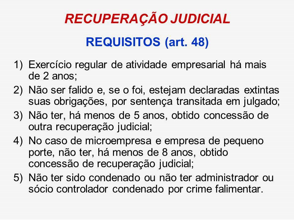 RECUPERAÇÃO JUDICIAL REQUISITOS (art. 48)