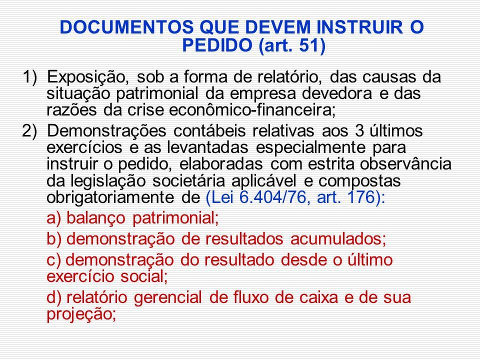 DOCUMENTOS QUE DEVEM INSTRUIR O PEDIDO (art. 51)