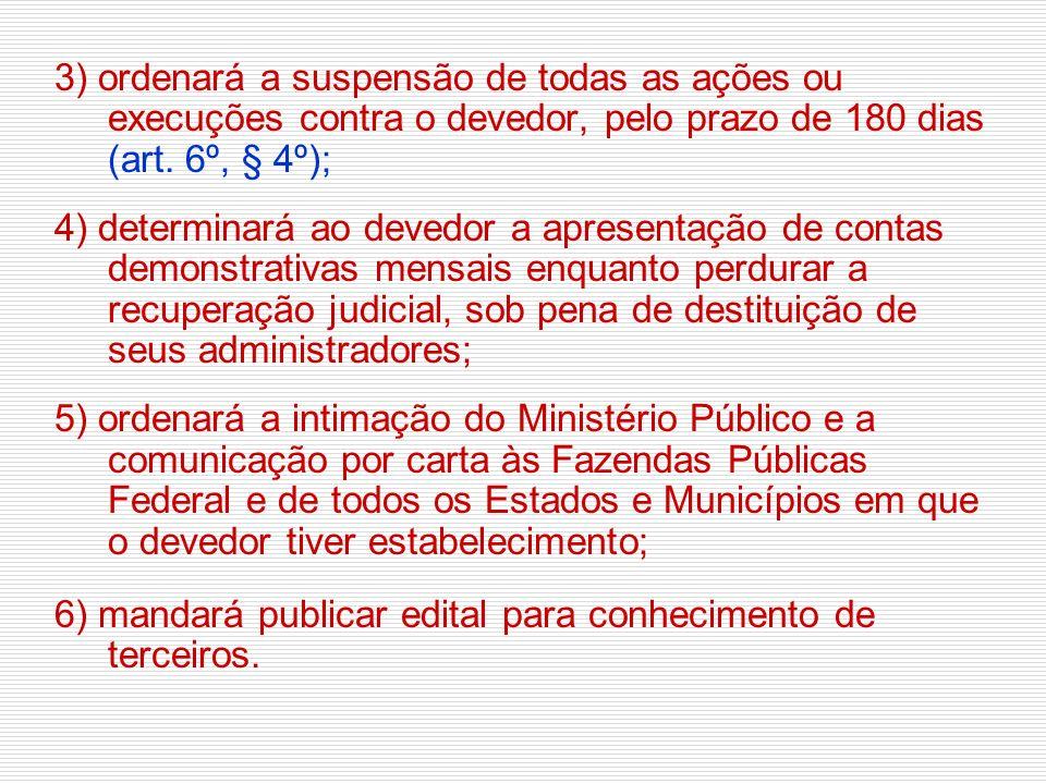 3) ordenará a suspensão de todas as ações ou execuções contra o devedor, pelo prazo de 180 dias (art. 6º, § 4º);