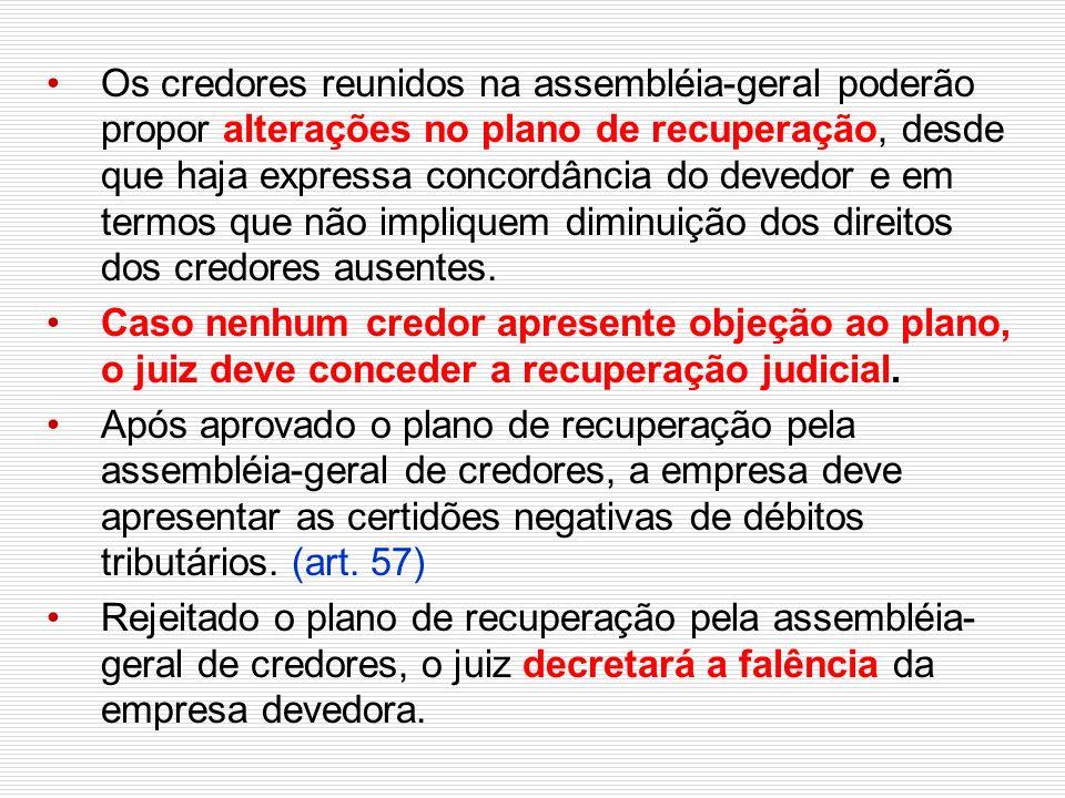Os credores reunidos na assembléia-geral poderão propor alterações no plano de recuperação, desde que haja expressa concordância do devedor e em termos que não impliquem diminuição dos direitos dos credores ausentes.