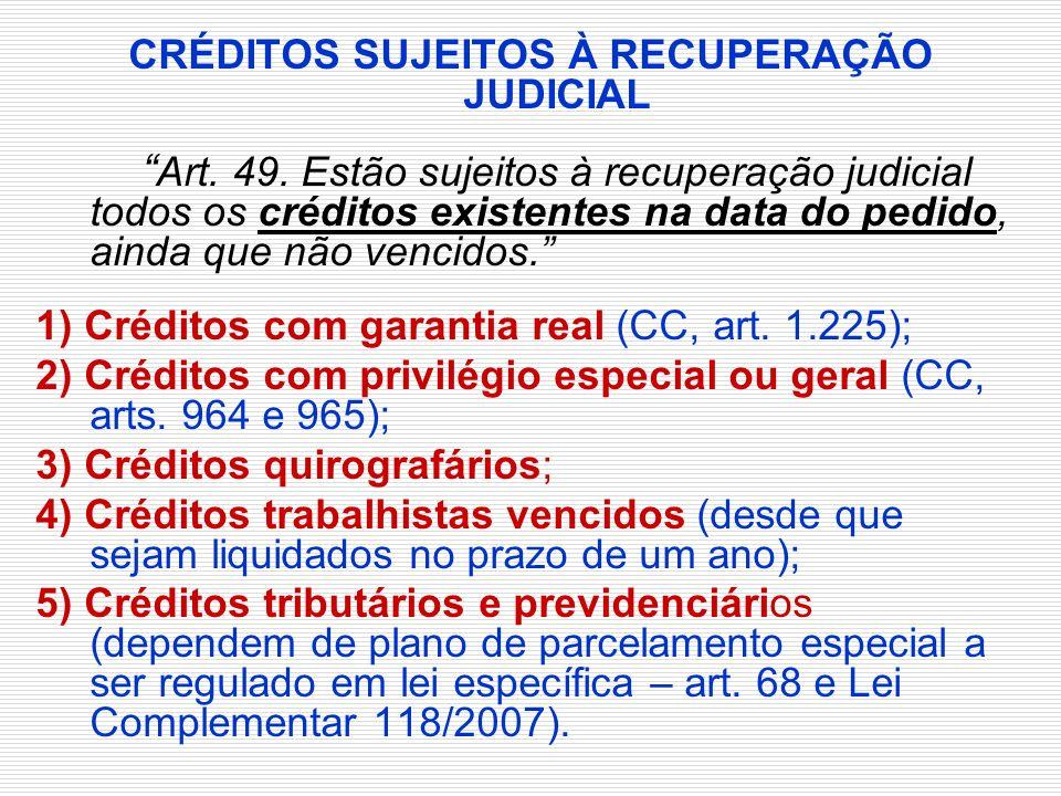 CRÉDITOS SUJEITOS À RECUPERAÇÃO JUDICIAL