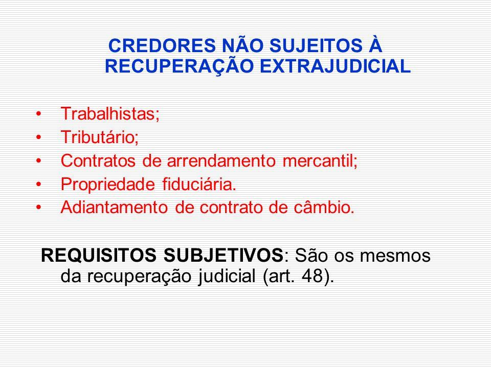 CREDORES NÃO SUJEITOS À RECUPERAÇÃO EXTRAJUDICIAL