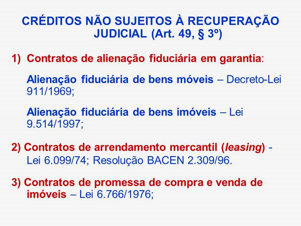 CRÉDITOS NÃO SUJEITOS À RECUPERAÇÃO JUDICIAL (Art. 49, § 3º)