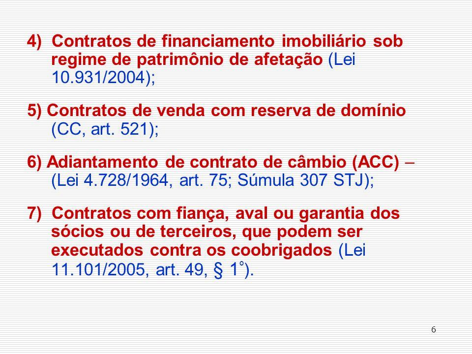 4) Contratos de financiamento imobiliário sob regime de patrimônio de afetação (Lei 10.931/2004); 5) Contratos de venda com reserva de domínio (CC, art.