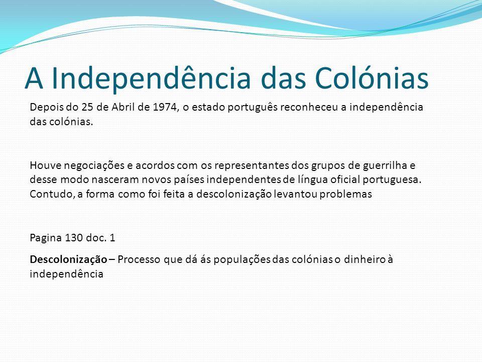 A Independência das Colónias