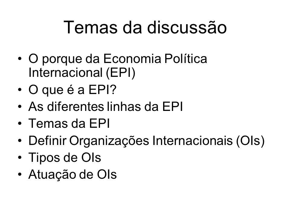 Temas da discussão O porque da Economia Política Internacional (EPI)