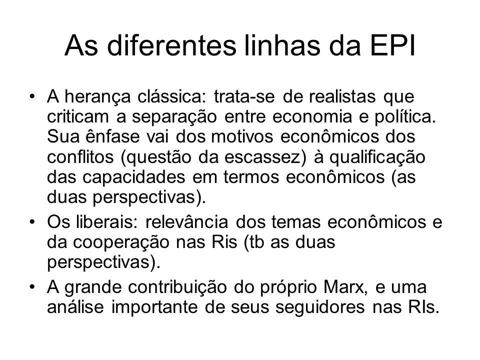 As diferentes linhas da EPI