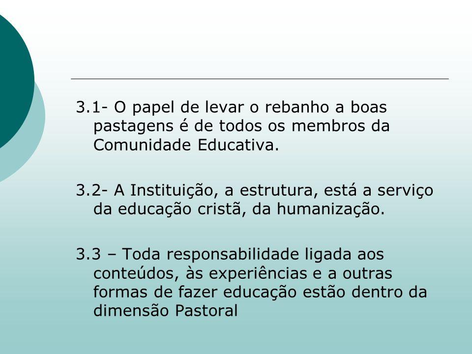 3.1- O papel de levar o rebanho a boas pastagens é de todos os membros da Comunidade Educativa.