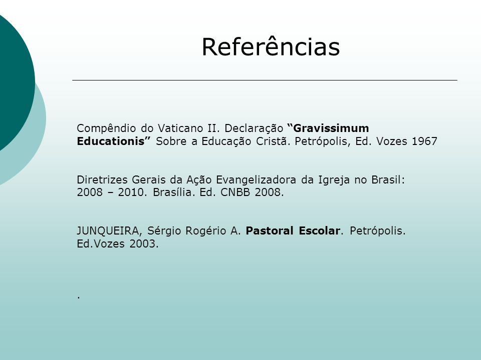 Referências Compêndio do Vaticano II. Declaração Gravissimum