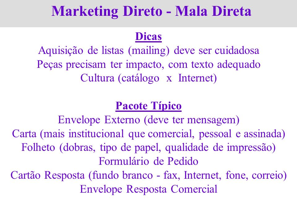 Marketing Direto - Mala Direta