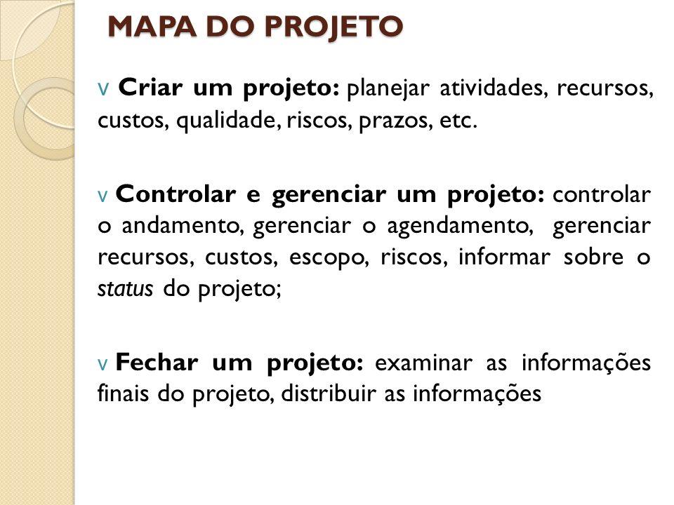 MAPA DO PROJETO Criar um projeto: planejar atividades, recursos, custos, qualidade, riscos, prazos, etc.