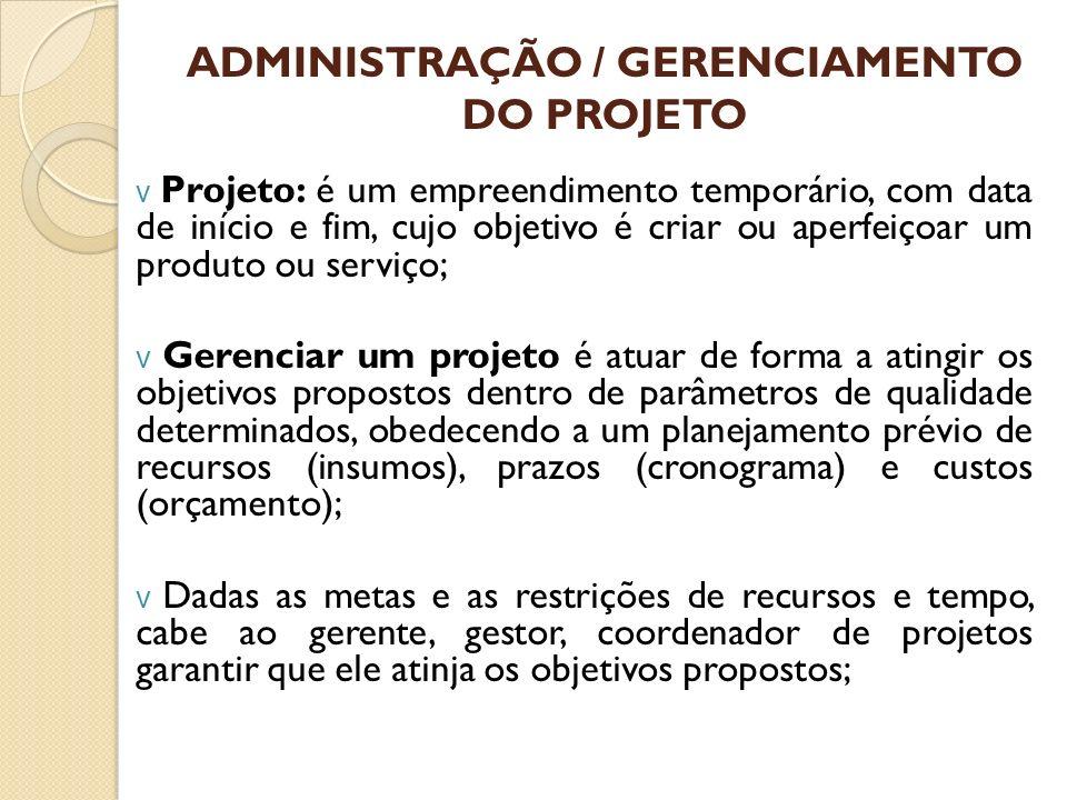 ADMINISTRAÇÃO / GERENCIAMENTO DO PROJETO