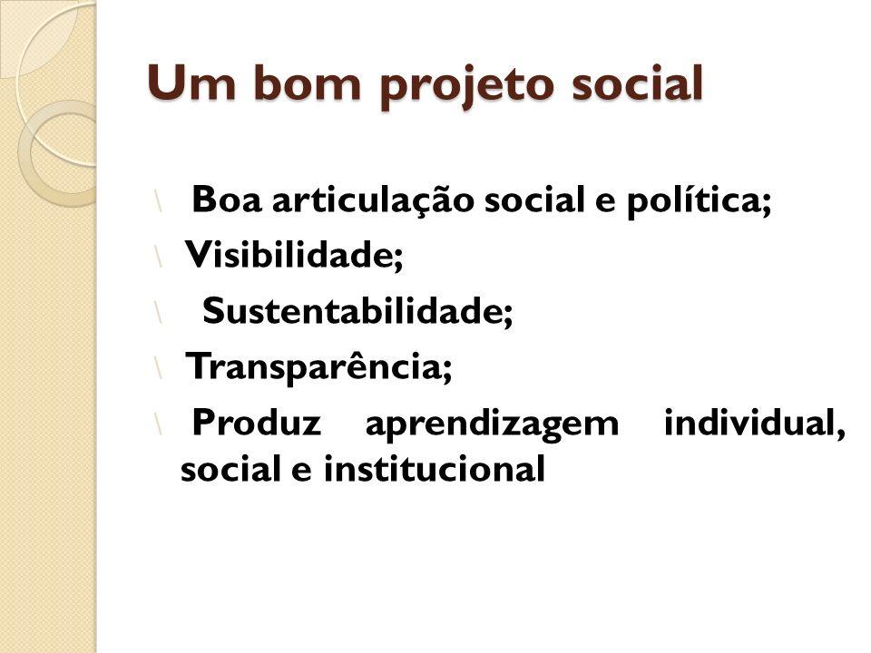 Um bom projeto social Boa articulação social e política; Visibilidade;