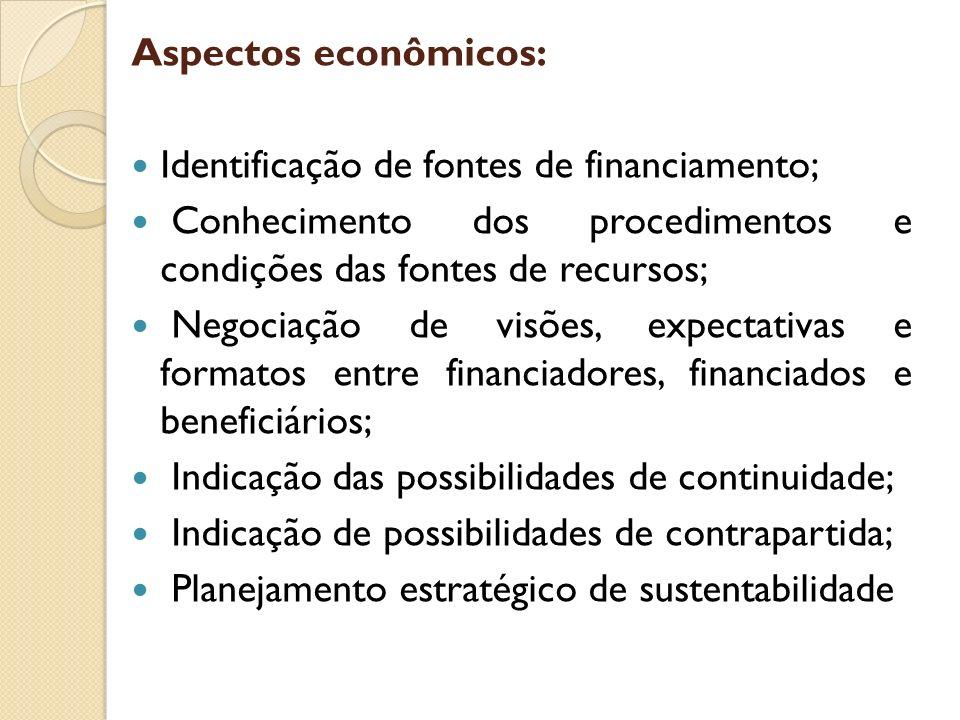Aspectos econômicos: Identificação de fontes de financiamento; Conhecimento dos procedimentos e condições das fontes de recursos;