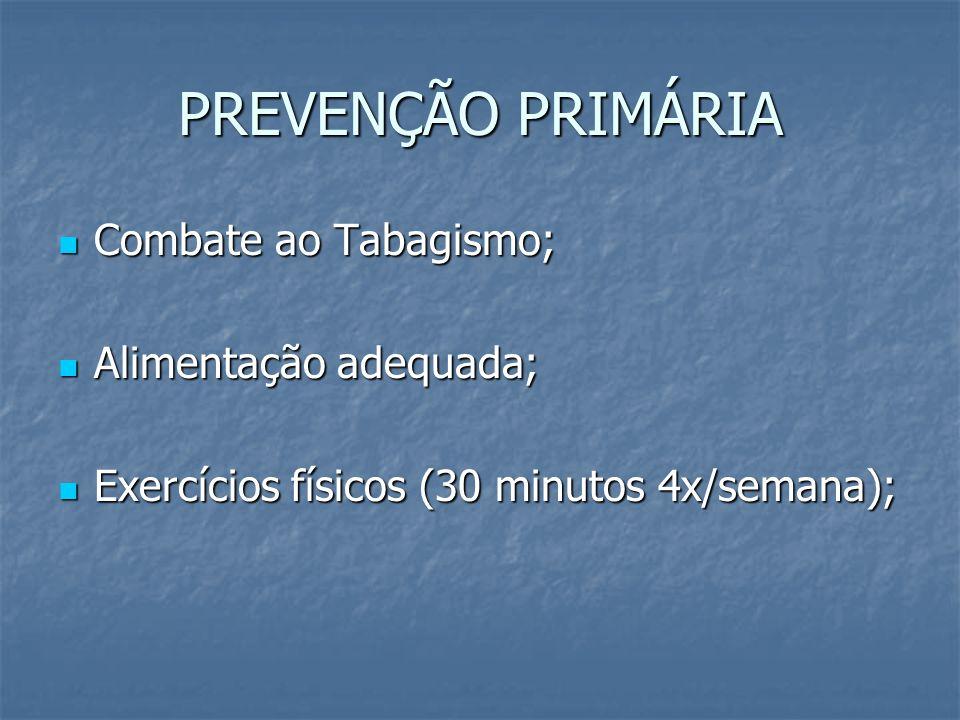 PREVENÇÃO PRIMÁRIA Combate ao Tabagismo; Alimentação adequada;