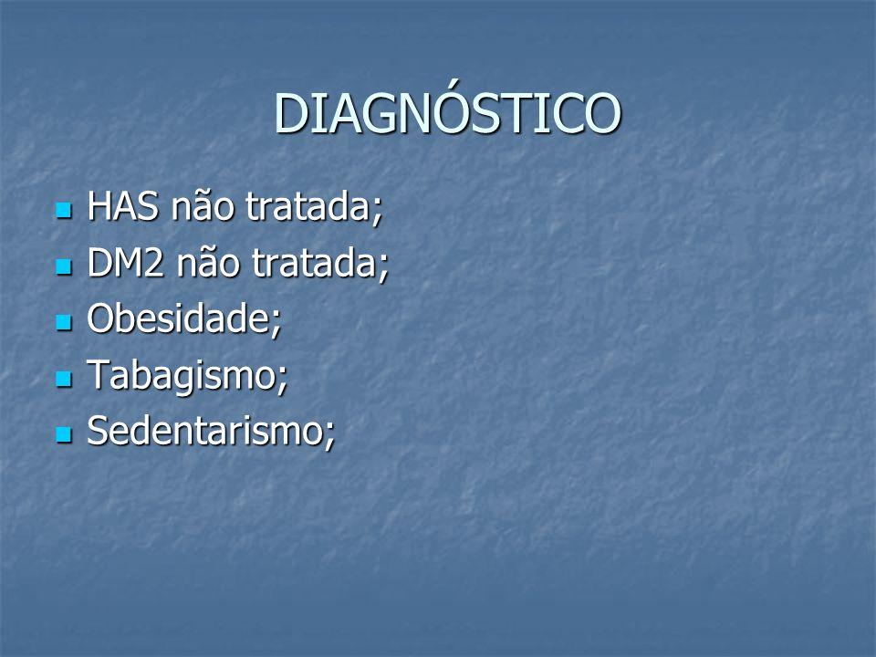 DIAGNÓSTICO HAS não tratada; DM2 não tratada; Obesidade; Tabagismo;