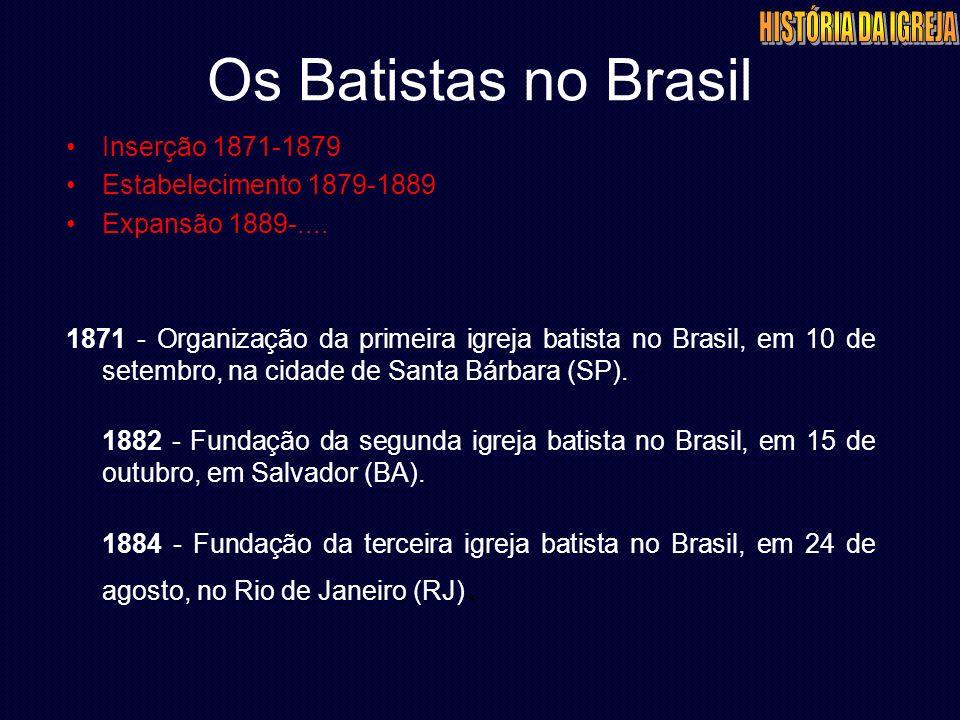 Os Batistas no Brasil Inserção 1871-1879 Estabelecimento 1879-1889