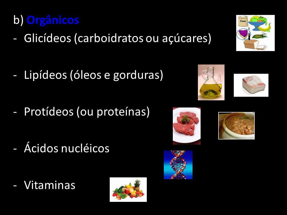 b) Orgânicos Glicídeos (carboidratos ou açúcares) Lipídeos (óleos e gorduras) Protídeos (ou proteínas)