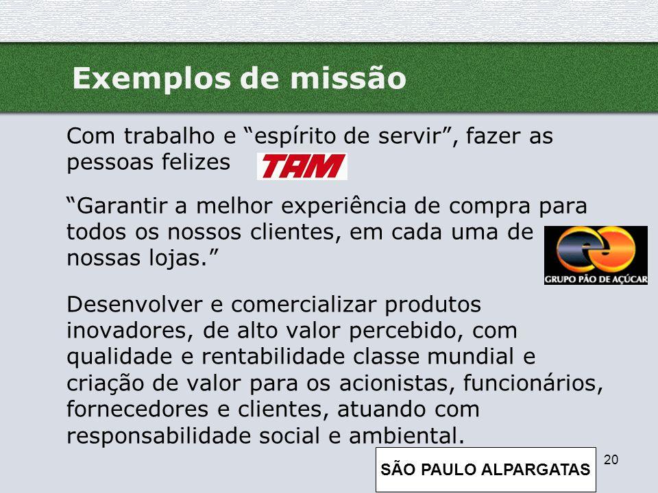 Exemplos de missão Com trabalho e espírito de servir , fazer as pessoas felizes.