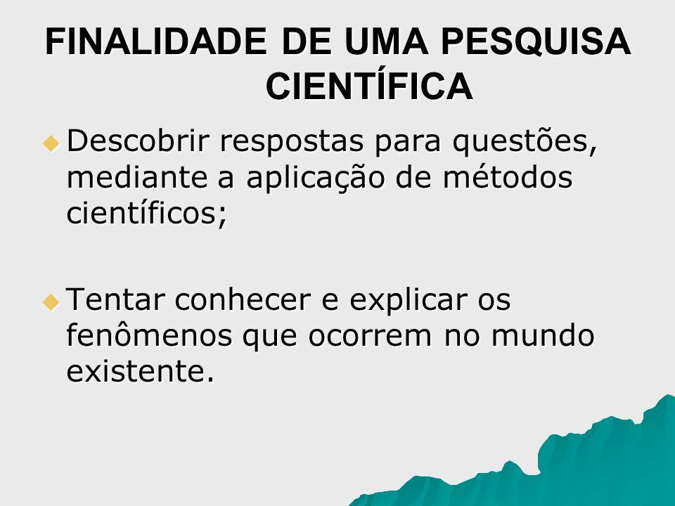 FINALIDADE DE UMA PESQUISA CIENTÍFICA