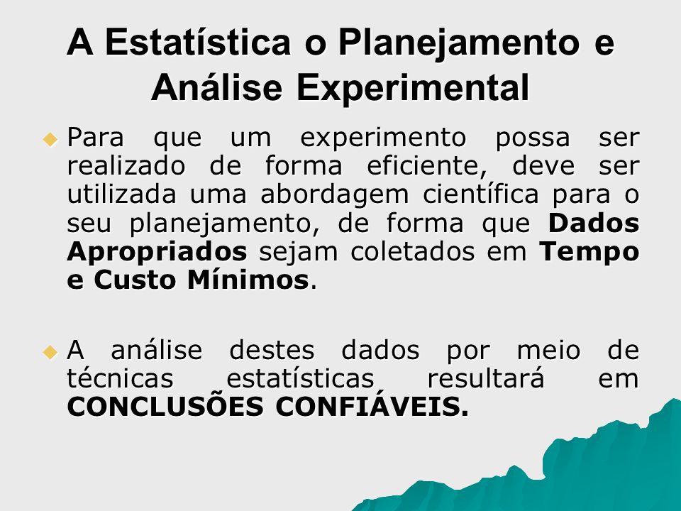 A Estatística o Planejamento e Análise Experimental