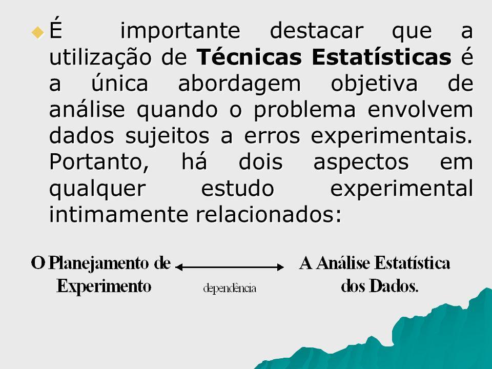 É importante destacar que a utilização de Técnicas Estatísticas é a única abordagem objetiva de análise quando o problema envolvem dados sujeitos a erros experimentais.