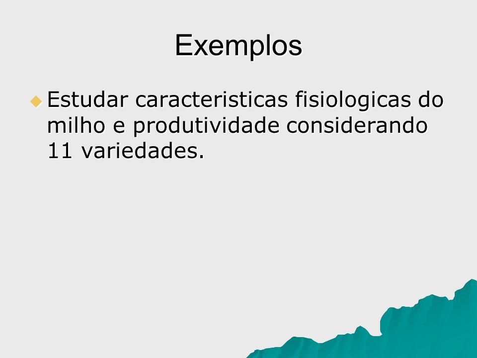 Exemplos Estudar caracteristicas fisiologicas do milho e produtividade considerando 11 variedades.
