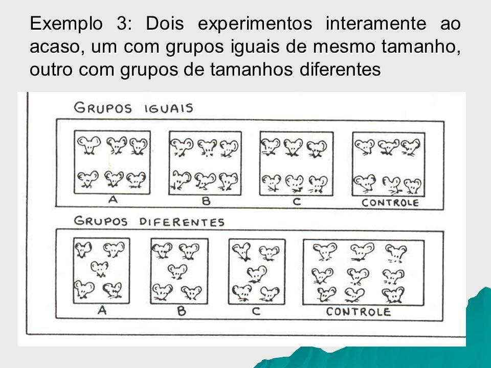 Exemplo 3: Dois experimentos interamente ao acaso, um com grupos iguais de mesmo tamanho, outro com grupos de tamanhos diferentes