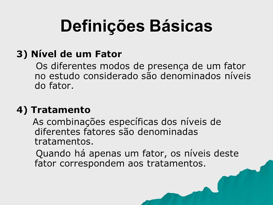Definições Básicas 3) Nível de um Fator