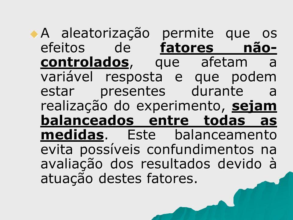 A aleatorização permite que os efeitos de fatores não-controlados, que afetam a variável resposta e que podem estar presentes durante a realização do experimento, sejam balanceados entre todas as medidas.