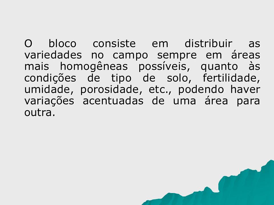 O bloco consiste em distribuir as variedades no campo sempre em áreas mais homogêneas possíveis, quanto às condições de tipo de solo, fertilidade, umidade, porosidade, etc., podendo haver variações acentuadas de uma área para outra.