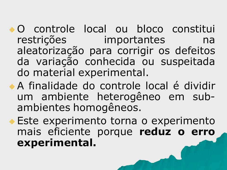 O controle local ou bloco constitui restrições importantes na aleatorização para corrigir os defeitos da variação conhecida ou suspeitada do material experimental.