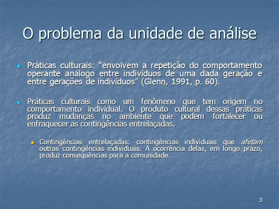 O problema da unidade de análise