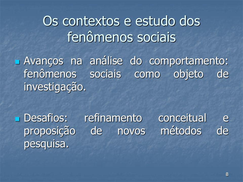 Os contextos e estudo dos fenômenos sociais