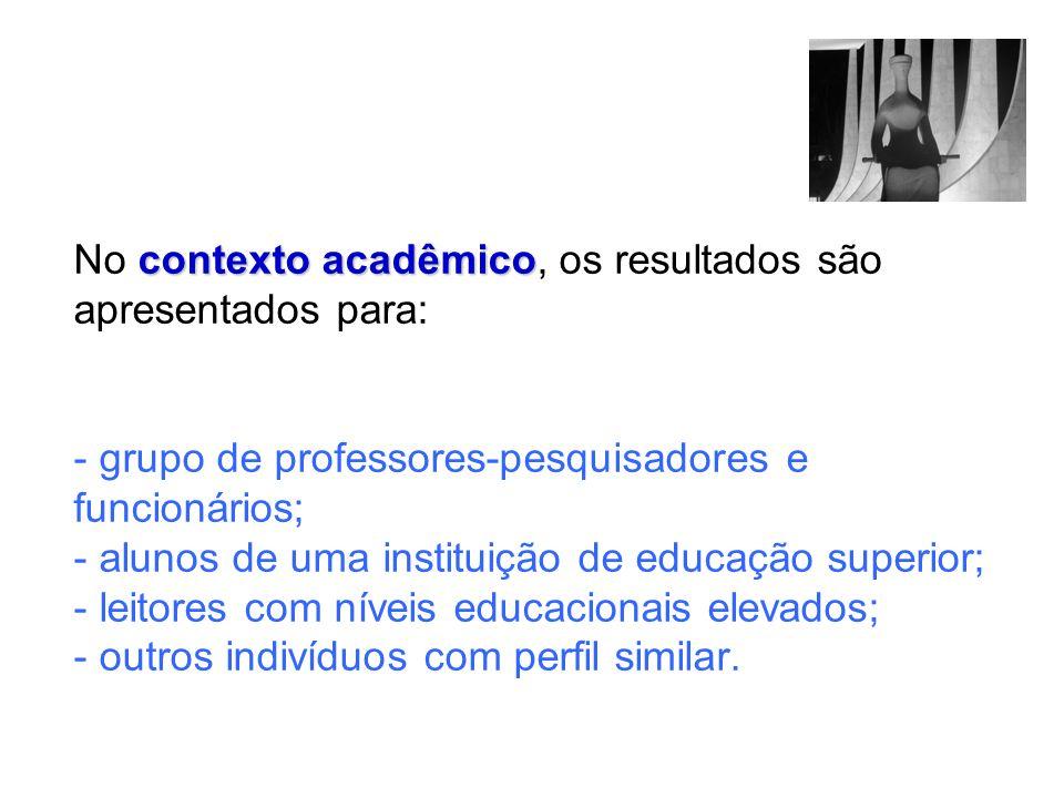 No contexto acadêmico, os resultados são apresentados para: - grupo de professores-pesquisadores e funcionários; - alunos de uma instituição de educação superior; - leitores com níveis educacionais elevados; - outros indivíduos com perfil similar.