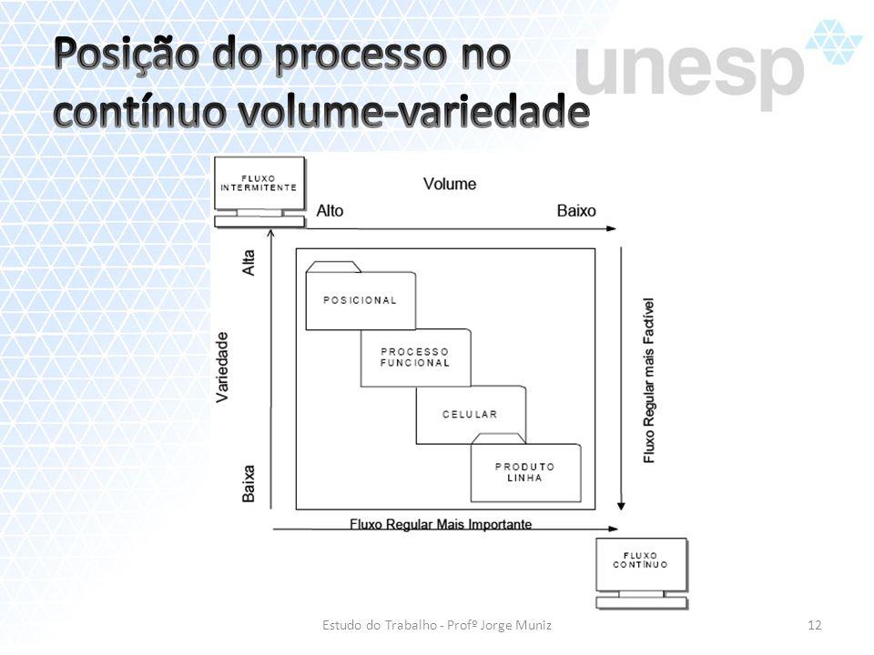 Posição do processo no contínuo volume-variedade