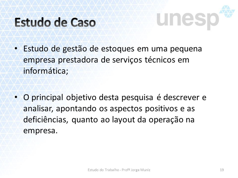 Estudo do Trabalho - Profº Jorge Muniz