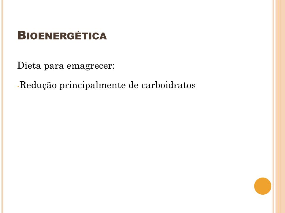 Bioenergética Dieta para emagrecer: