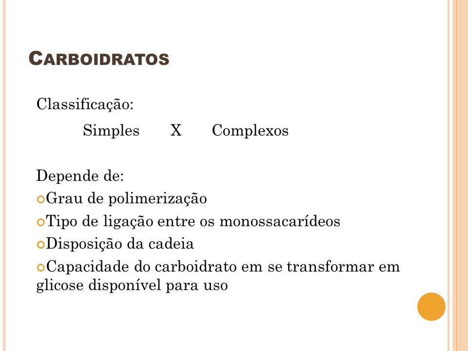 Carboidratos Classificação: Simples X Complexos Depende de: