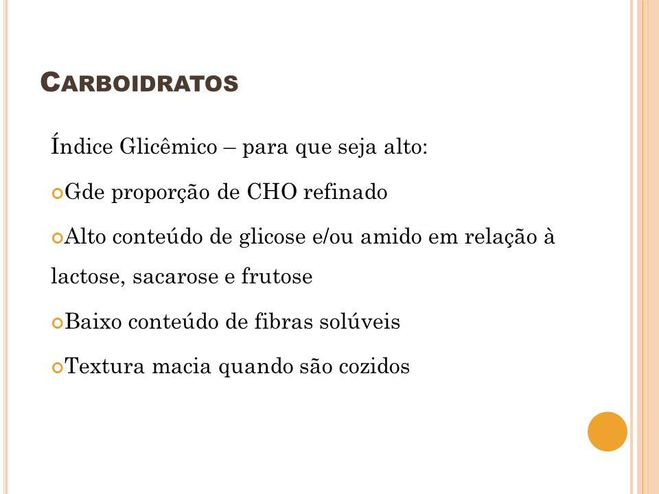 Carboidratos Índice Glicêmico – para que seja alto: