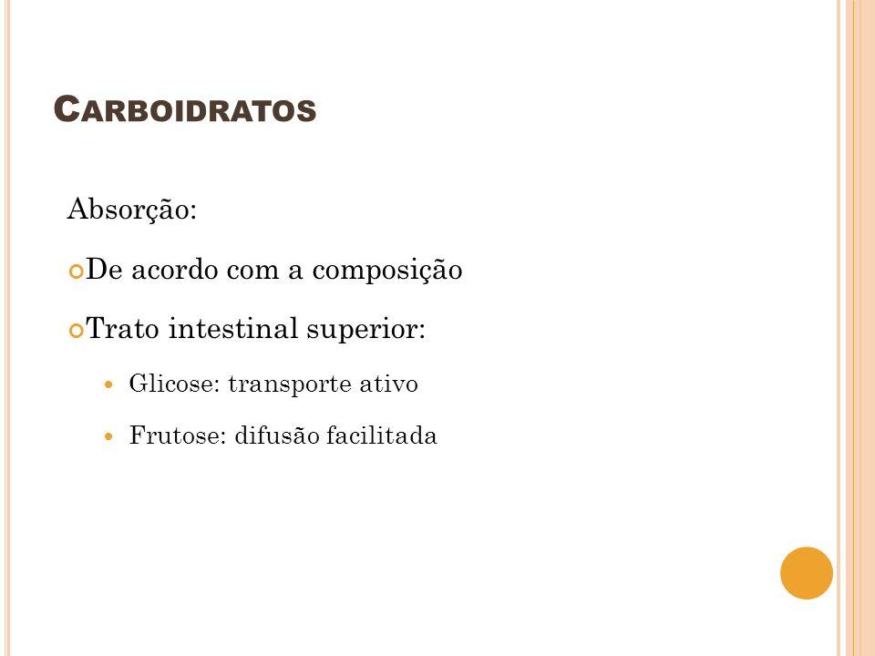 Carboidratos Absorção: De acordo com a composição