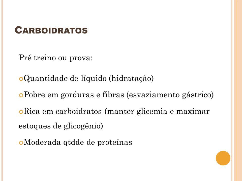 Carboidratos Pré treino ou prova: Quantidade de líquido (hidratação)